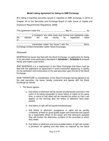Of 77 model listing agreement for listing on sme exchange nse page 1 of 77 model listing agreement for listing on sme nse platinumwayz