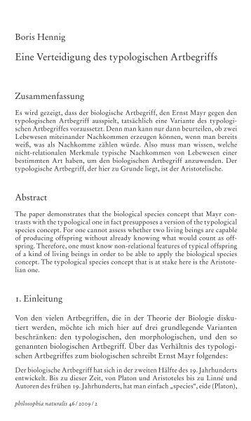 Eine Verteidigung des typologischen Artbegriffs - Boris Hennig