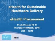 eHealth for Sustainable Healthcare Delivery ... - World of Health IT