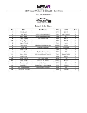 MSVR Cadwell Weekend – 21/22 May 2011 Cadwell Park Entry lists ...
