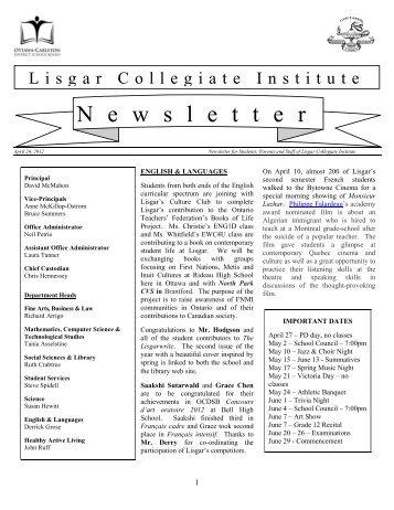 April 24, 2012 - Lisgar Collegiate Institute