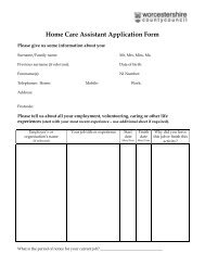 Home Care Assistant Application Form - Worcestershire County ...