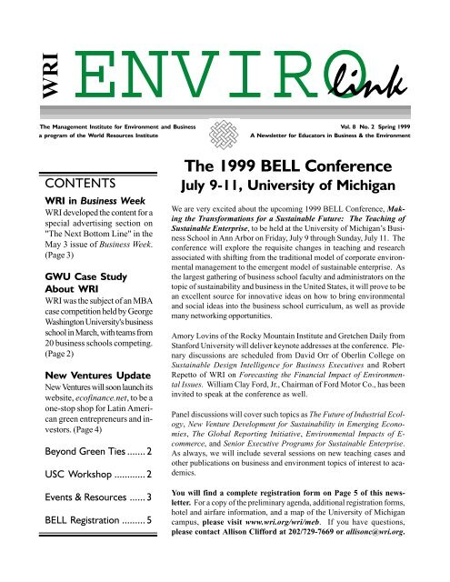 The 1999 BELL Conference - World Resources Institute