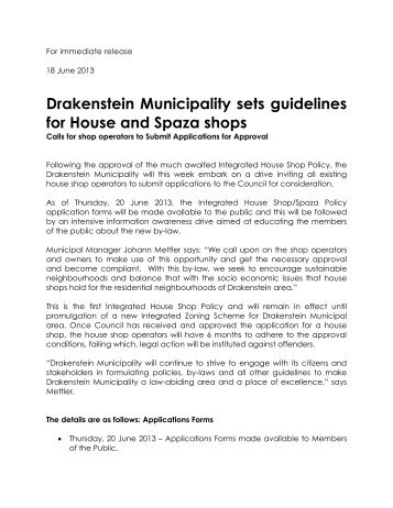 Drakenstein Municipality sets guidelines for House and Spaza shops