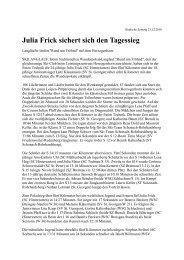Julia Frick sichert sich den Tagessieg - Skiclub Hinterzarten