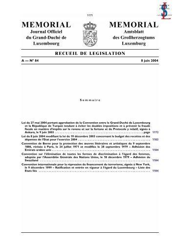 A - N° 84 / 8 juin 2004 - Legilux