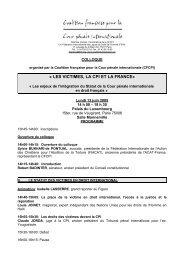 « LES VICTIMES, LA CPI ET LA FRANCE» - CREDHO