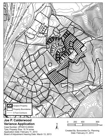 Joe P. Calderwood Variance Application - Buncombe County