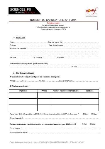Dossier de candidature en Master 1 - Sciences Po Grenoble