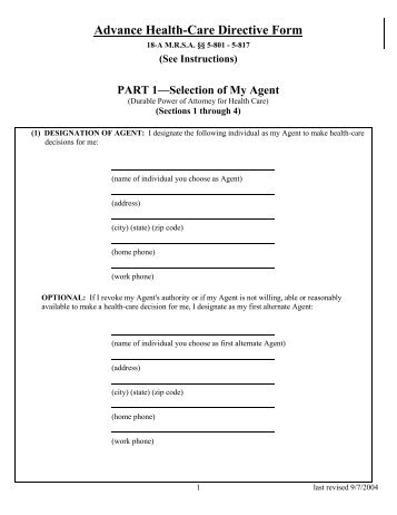 Advanced Directive Form Pdf  Coalition For Compassionate Care