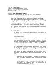 Colorado Revised Statutes Title 6 – Consumer and Commercial ...