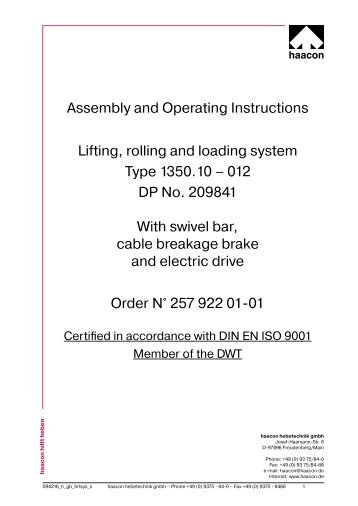 Assembly and Operating Instructions Lifting, rolling and ... - haacon.de