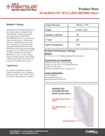 Makrolon Hygard BR1000 Sheet - Curbellplastics.com
