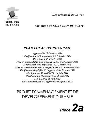 projet d'aménagements et de développement durable PADD