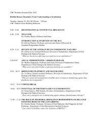 UBC Dentistry Research Day 2012 Biofilm Disease Dynamics: From ...