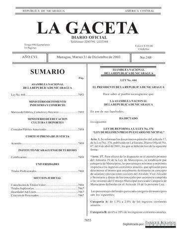 Gaceta - Diario Oficial de Nicaragua - # 248 de 31 Diciembre 2002