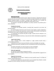 ANO LECTIVO 2008/2009 Regras de inscrição e propinas Pós ...