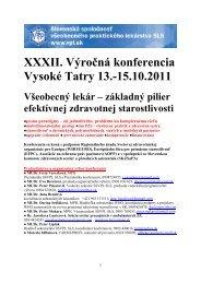 XXXII. Výročná konferencia Vysoké Tatry 13.-15.10.2011 Všeobecný ...