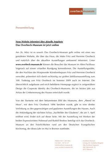 Pressemitteilung Das Overbeck-Museum ist jetzt online