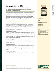 Sesame Seed Oil Product Detail Sheet - Standard Process