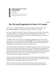 Press Release Des Order of Canada - Stratford Festival