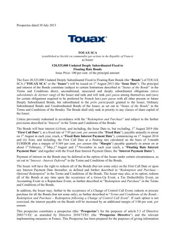 Prospectus dated 30 July 2013 TOUAX SCA as Issuer ... - touax group