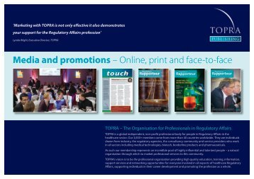 Media and promotions – Online, print and face-to-face - TOPRA