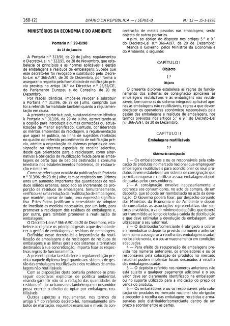 168-(2) MINISTÉRIOS DA ECONOMIA E DO AMBIENTE - Instituto ...