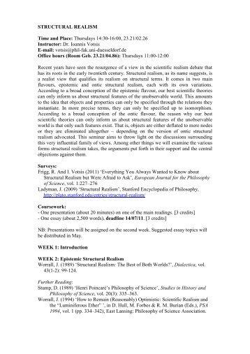 Structural Realism Syllabus - Ioannis Votsis