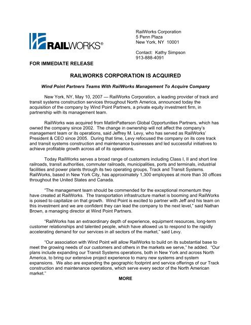 RailWorks Is Acquired by Wind Point Partners and Management Team