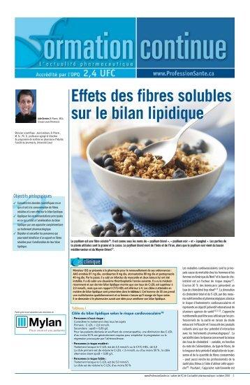 Effets des fibres solubles sur le bilan lipidique