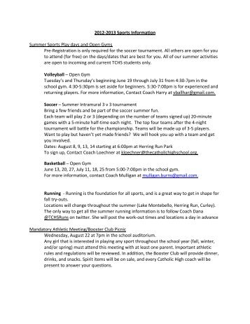 2012-2013 Sports Information Summer Sports Play days and Open ...