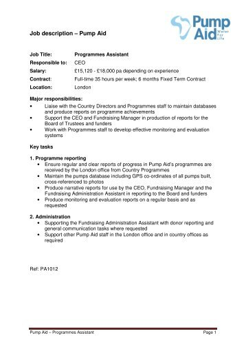 Job Description A Pa To Chief Executive Office Manager Charityjob
