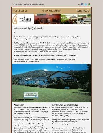 Velkommen til Tyrifjord Hotell Påskelunch Konferanse -og møtepakker