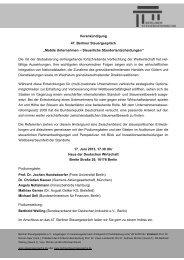 Vorankündigung - Berliner Steuergespräche eV