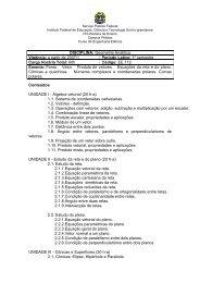 Conteúdos UNIDADE I - Álgebra vetorial (20 ha) - Instituto Federal ...