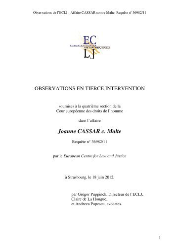 Joanne CASSAR c. Malte - ECLJ