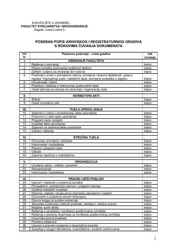 poseban popis arhivskog i registraturnog gradiva s rokovima - FSB ...