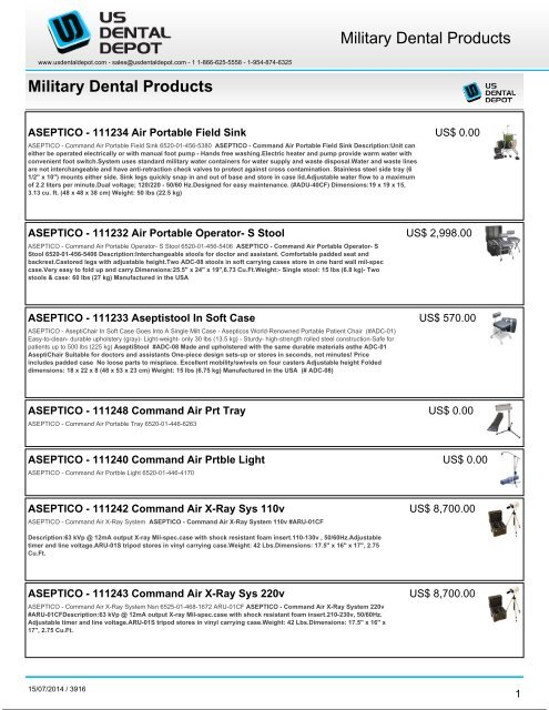 Stupendous Military Dental Products Dental Supplies Theyellowbook Wood Chair Design Ideas Theyellowbookinfo