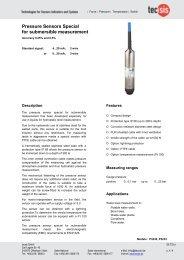 Pressure Sensors Special for submersible measurement