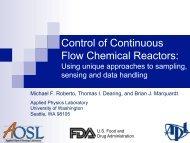Control of Continuous Flow Chemical Reactors: - CPAC - University ...