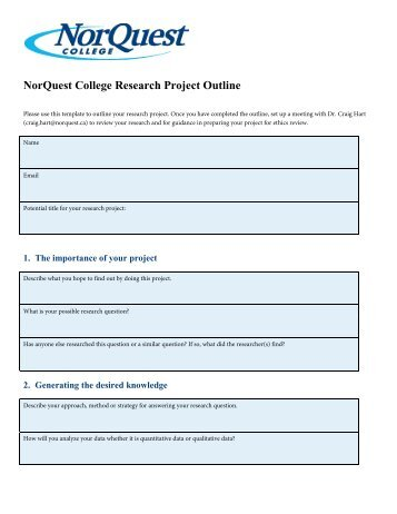 NorQuest College Research Project Outline