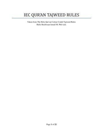 IEC QUR'AN TAJWEED RULES