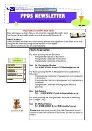 PPDS NEWSLETTER - University of Wolverhampton