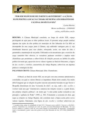 Carina Martiny - X Encontro Estadual de História – ANPUH-RS