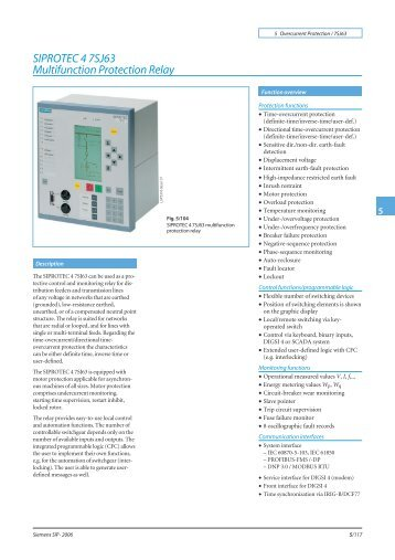 SIPROTEC 4 7SJ63 Multifunction Protection Relay - Siemens