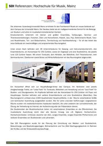 SDI Referenzen: Hochschule für Musik, Mainz
