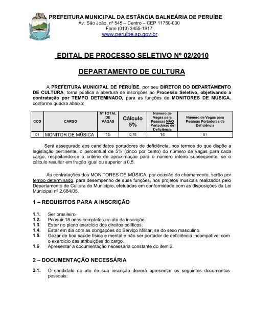 EDITAL DE PROCESSO SELETIVO Nº 02/2010 ... - Peruíbe