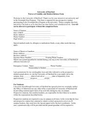 University of Hartford Waiver of Liability and Medical Release Form ...