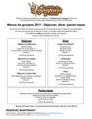 Menus de groupes 2011 : Déjeuner, dîner, panier-repas